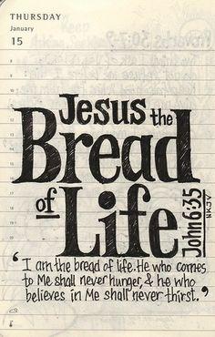 —Yo soy el pan de vida —declaró Jesús—. El que a mí viene nunca pasará hambre, y el que en mí cree nunca más volverá a tener sed. (Juan 6:35 NVI)