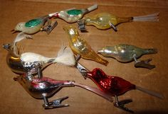 VTG 7 Shiny MERCURY GLASS BIRD ORNAMENTS W/CLIPS CHRISTMAS
