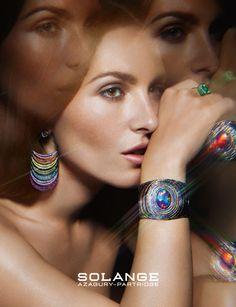 Josephine de la Baume wearing Opal fruit cuff, emerald cup ring and Black rainbow earrings. Photo Solve Sundsbo for Solange Azagury-Partridge Jewelry Ads, High Jewelry, Jewellery, Costume Jewelry, Opal, White Gold, Jewels, Partridge, Gemstones