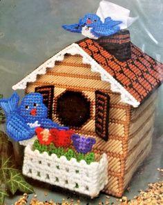 Bucilla Plastic Canvas Kit Bird House Tissue Box Cover No. 6056 Vintage 1990 #Bucilla