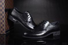 FGN Brand British Men's Full Carved Wingtip Brogue Shoes Oxfords Shoes T461086 - Black