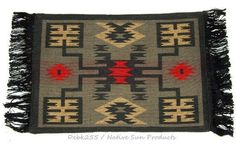 "Woven Placemat Table Mat Native American Southwestern Fringed 13X19"" Design #9"