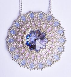 Zabett Flower Pendant Purple/Blue di theZABETT su Etsy