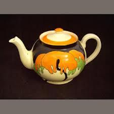 Clarice Cliff Globe shape teapot in Mountain pattern, c. 1931-1932, handpainted enamel on glaze, ceramic, UK