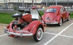 "Thinking about customizing your VW Beetle? Some may have you laughing, some may just have you shaking your head, depending on how ""holy"" the Classic vw beetle is to you: First, the Beetle ""garden""… Car Volkswagen, Vw Cars, Vw Camper, Custom Trailers, Beetle Car, Vespa Scooters, Lambretta Scooter, Car Trailer, Chevrolet Trucks"
