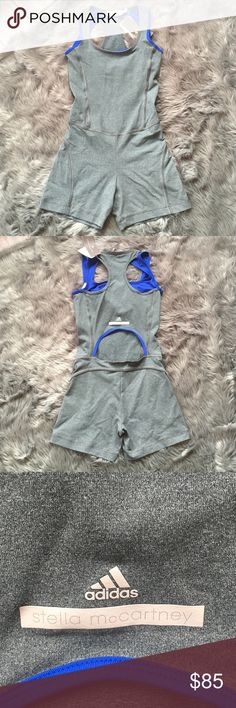 Stella McCartney for Adidas onesie size XS Like to workout?  Then you'll love this ultra flattering Climalite onesie designed by Stella McCartney for Adidas.  It's gray with a built in bright blue bra and has a key hole notch in the back...so you're covered but not too covered 😀.  Climalite keeps you dry and comfortable throughout your workouts.    Grab this sold out, hard to come by, cult favorite while you can get it!           NWT.    Size XS.           Authentic--purchased directly from…