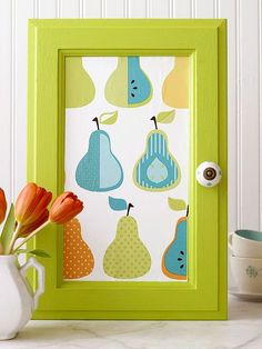 Wallpapered Door, Paint the cabinet door with semigloss interior latex paint. When the paint is dry, cut a piece of scrap wallpaper to fit the recessed panel. Apply spray adhesive to the back of the paper, then carefully smooth it onto the panel. Use a paintbrush to apply a thin coat of decoupage medium over the paper and the entire door.