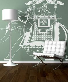 Vinyl Wall Decal Sticker Rajasthan Indian Elephant Rider #876 | Stickerbrand wall art decals, wall graphics and wall murals.