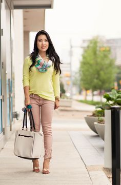cute & little blog | petite fashion | neon yellow sweater, pink moto pants, pastel stripes infinity scarf, white piped tote, blue mirrored aviators | spring outfit