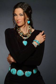 The Museum Store now carries Rocki Gorman American Indian jewelry - For the love of turquoise Equestrian Outfit, Mode Hippie, Look Fashion, Womens Fashion, Fashion Beauty, Estilo Hippie, Look Boho, American Indian Jewelry, Cowgirl Style