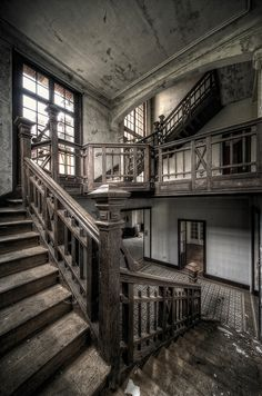 Architecture Forgotten Series: photographed by Aurélien Villette. '—buildings that once stood proud and regal, full of life and commerce, now left to rot by a society that has deemed them unnecessary'. Abandoned Property, Old Abandoned Houses, Abandoned Mansions, Abandoned Buildings, Abandoned Castles, Abandoned Places, Old Houses, Mansion Homes, Stairway To Heaven