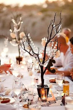 With the tree branches idea of getting them and painting them white would really pretty if we hung crystals on them and maybe added some flowers (if we get good ones)