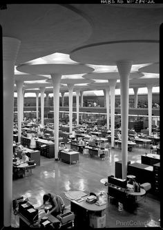 Johnson Wax corporate offices, Racine, Wisconsin / Frank Lloyd Wright - Hey, I work in a Frank Lloyd Wright building! Organic Architecture, Futuristic Architecture, Amazing Architecture, Art And Architecture, Architecture Details, Concrete Architecture, Historic Architecture, Johnson Wax, Frank Lloyd Wright Buildings