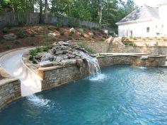 Sloped Backyard, Small Backyard Pools, Backyard Pool Landscaping, Backyard Patio Designs, Swimming Pools Backyard, Lap Pools, Indoor Pools, Small Pools, Pool Decks