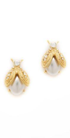 Kenneth Jay Lane: Pearl Bee Earrings so cute