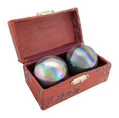 2 Pairs 38 MM 15 Chinese Exercise Balls Baoding Balls Rainbow Design on Chrome Color in Included Brocade Box Red Brocade Box *** For more information, visit image link.