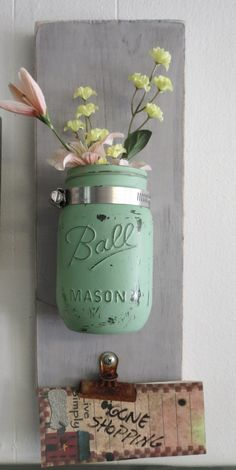Shabby Wood Wall Pocket  Candle or Vase Key or Note Holder Mason Ball Jar Chalk Blended Paint Customize Colors Wall Scones Cottage