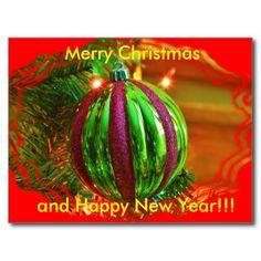 Green Christmas bulb Christmas POST CARD