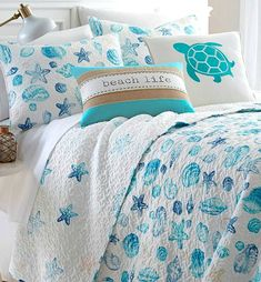 Love that front accent pillow! Beachy Sea Shell Quilt Set (currently on Sale Beach Cottage Style, Coastal Cottage, Coastal Homes, Coastal Style, Coastal Decor, Coastal Living, Coastal Entryway, Beach Homes, Modern Coastal
