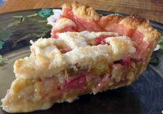 This is the Best Rhubarb Pie ever (I tried it tonight) 4 cups rhubarb 2 eggs c white sugar c brown sugar pinch of salt juice of lemon tsp vanilla 450 for 350 Rhubarb Desserts, Rhubarb Recipes, Just Desserts, Delicious Desserts, Yummy Food, Rhubarb Rhubarb, Rhubarb Bars, Strawberry Rhubarb Pie, Rhubarb Dishes