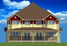 Rear Elevation of Multi-Family Plan 99966