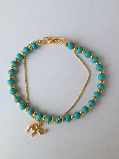 f42f78dcc4ac Turquoise beaded bracelet with chain and elephant pendant Pulseira turquesa  corrente e pingente de elefante