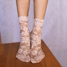 Lace Socks. Beautiful Beige Floral Scalloped Edge Design. Ankle Socks. Women's Socks by TatianasThreads