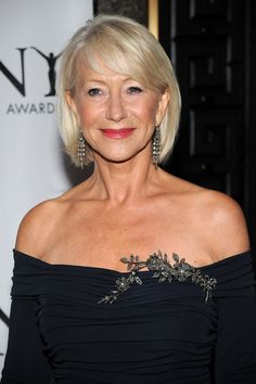Helen Mirren completed her look with 19th Century diamond fringe earrings in silver on gold. Tony Award 2010.