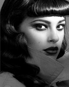 Smokey eyes and betty bangs on today's Voluptuous Vintage Vixen Ashley Graham