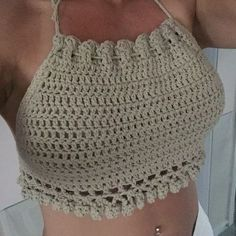 Excellent Photo of Crochet Hippie Halter Top Pattern Crochet Bra, Crochet Summer Tops, Crochet Halter Tops, Crochet Bikini Top, Crochet Woman, Crochet Blouse, Crochet Clothes, Crochet Designs, Crochet Patterns