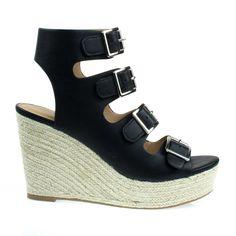 HamzaBlackpu HamzaWhitePu #espadrille #platform #wedge #sandal #opentoe #gladiator #ankle #women #shoes #black