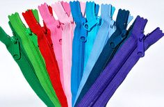 Ten 14 Inch Ykk Purse Zippers with a Long Handbag Pulls Mix and Match of 10 Colors Sewing Patterns, Sewing Ideas, Sewing Techniques, Zippers, Craft Supplies, I Shop, Swarovski Crystals, Purses, Projects
