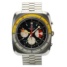 FAVRE-LEUBA Stainless Steel Sea Sky GMT circa 1970s  Switzerland  1970s  Favre-Leuba Sea Sky GMT reference 33053 with the Valjoux 724,17-Jewels manual wind movement. This has a 24-Hour, chronograph, dual time zone, mineral crystal, yellow 24-Hour hand, light grey/yellow bi-directional rotating 24-hour bezel.