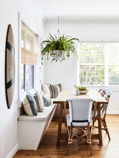 Bistro chairs from Naturally Cane Photography Tanya Zouev / Styling Maddy Evennett Dining Nook, Dining Room Lighting, Dining Room Design, Kitchen Design, Table Lighting, Kitchen Lighting, Dining Chairs, Lighting Ideas, Dining Furniture