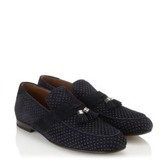 Jimmy Choo - Bevan - 141bevanpdd - Navy Suede Loafers with Dusty Pink Polka Dots