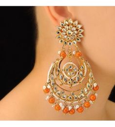 Orange Bead Chandbala Earring