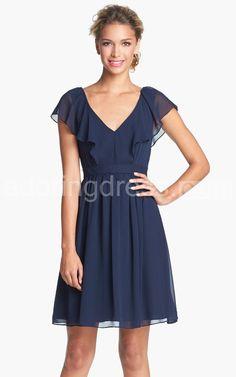 Romantic Short-sleeved V-neck Short A-line Chiffon Dress With Draped Ruffles and V-back Item Code: 305059