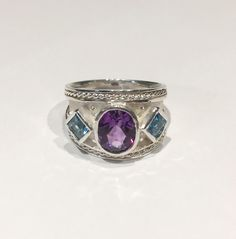 Kevin Cremin - Larger Silver Tapered Byzantine Ring with Amethyst and Blue Topaz - size 7.25