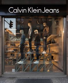 """CALVIN KLEIN, Corso Buenos Aires, Milan, Italy, """"A man grows most tired while standing still"""", creative by StudioXAG, pinned by Ton van der Veer Clothing Store Interior, Clothing Store Displays, Clothing Store Design, Shoe Store Design, Retail Store Design, Showroom Interior Design, Boutique Interior, Winter Window Display, Visual Merchandising Fashion"""