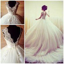 Vestido de noiva de Luxo Vestidos de Casamento vestido de Baile V Neck Cap Applique Frisada Lace Vestidos de Noiva Capela Train Dubai Abaya(China (Mainland))
