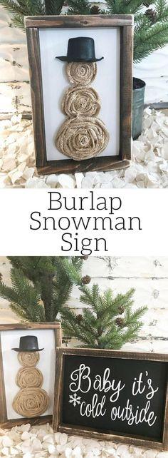 It's a burlap snowman!  Love the Rustic look!  Burlap snowman sign, Christmas sign, snowman sign, Rustic Christmas sign, Rustic decor, Winter decor, Farmhouse Christmas, Winter sign, Christmas gift idea #ad