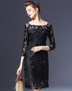 Plain Floral Slim Fit Midi Dress. VIPme.com offers high-quality Day Dresses at affordable price.