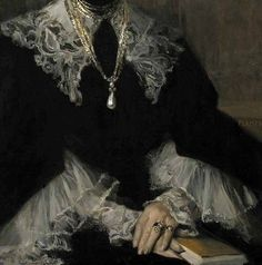 Adeline M. Noble (detail), by Francois Flameng (French, Gothic Aesthetic, Slytherin Aesthetic, Aesthetic Art, Aesthetic Pictures, Renaissance Kunst, Renaissance Paintings, Victorian Art, Illustration, Classical Art