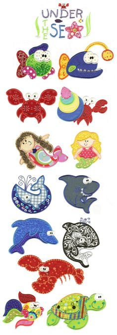 Fun in the Ocean Applique design set available for instant download at www.designsbyjuju.com