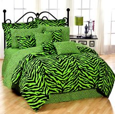For the girl who has a style all her own. Lime Green and Black Zebra Bedding! OMG I NEED THIS SO BAD!!!!