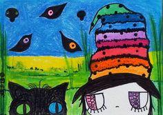 ACEO Original Cat Girl Black birds Oil Pastels Soft Pastels Prismacolor pencils  Title Don't Move A Muscle :)