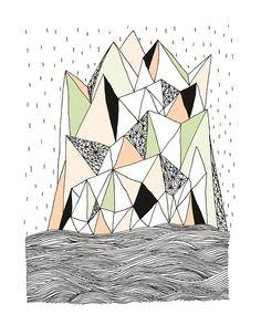 Geometric Mountain in the Rain