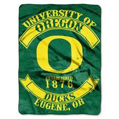 Oregon Ducks NCAA Royal Plush Raschel Blanket (Rebel Series) (60x80)