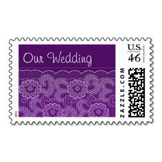 Purple Lace Wedding Postage Stamps