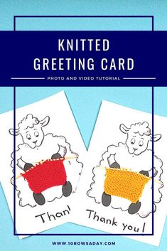 Learn to make a cute greeting card that you can gift to knitters and non-knitters on any occasion. Great way to use leftover sock yarn. Easy Knitting Projects, Knitting For Beginners, Cute Sheep, Fair Isle Pattern, Learn How To Knit, Last Stitch, Seed Stitch, Sock Yarn, Free Knitting